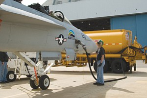 The F/A-18F Super Hornet, aka 'Green Hornet,' broke the sound barrier while running on a 50-50 mix of biofuel and conventional fuel. The biofuel was refined from the camelina plant.