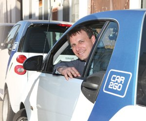 Car2go executive Walter Rosenkranz says San Diego was a logical market for the international car-sharing business. Car2go has a fleet of 300 electric autos for rent by the hour — or the minute.
