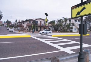 Carlsbad is making pedestrian and environmentally friendly changes to high-traffic areas, including crosswalk upgrades, as part of its 'livable streets' program.