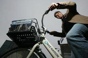 Bike Nation's Navin Narang in Westwood.