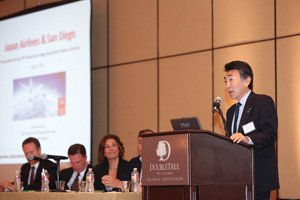 Yoshihiko Kozu, of Japan Airlines, was one of the panelists addressing the CCIM's Hospitality Industry Outlook forum. Kozu said new air routes would improve ties between San Diego and Japan.