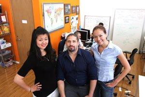 From left, Shana Zheng, Shawn Faison and Aigerim Shorman at travel company Triptrotting in Santa Monica.