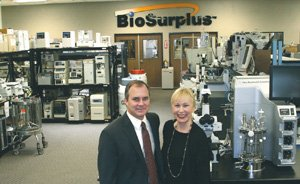 Preston 'Cinco' Plumb, CEO of BioSurplus, and Chief Marketing Officer Jackie Townsend say the biotech supply company is narrowing down its options for a new Boston location.