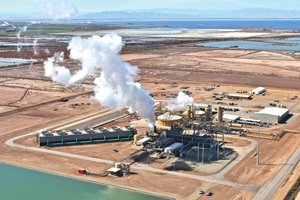 Steam billows from the Hudson Ranch geothermal plant in Calipatria, near the Salton Sea. While the plant serves the Phoenix metro area, operator EnergySource LLC is considering building more geothermal plants to serve San Diego.