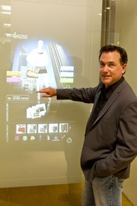 Scott Holmes works touch screen at United Future in Culver City.