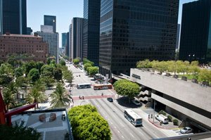 Intersection of Flower and Fifth streets in downtown L.A.
