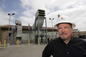 David Slater at Signal Hill Petroleum's generator in Signal Hill.