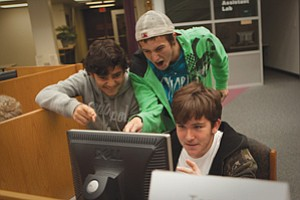 Students work to counter live hacker attacks during the 2010 Mayor's Cyber Cup competition in San Diego. Businesses such as ESET and SAIC support the annual event. Northrop Grumman participates in similar student competitions.