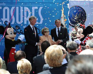 "Nancy Reagan (center) is joined by Robert Iger, chairman and CEO of The Walt Disney Co. (right) and Frederick J. Ryan, Jr., Chairman of the Board of Trustees of the Ronald Reagan Presidential Foundation at the opening of the ""D23 Presents Treasures of the Walt Disney Archives"" exhibit at the Ronald Reagan Library and Museum in Simi Valley."