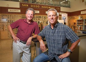 Rip Fleming, left, president of San Diego Hardware and Bill Haynsworth, co-owner and fourth generation descendant of the founders of the company, started a website selling hardware and answering online questions in the late 90s. Fleming says the multichannel approach has helped the company survive economic downturns.