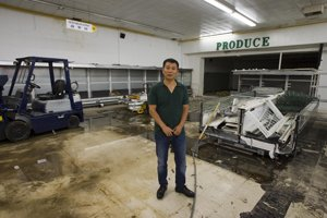 Sam Tang at the site of his future grocery store in Temple City.