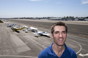 Wade Eyerly, Surf Air chief executive, at Santa Monica Airport.