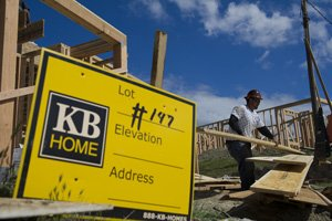 Construction worker at KB Home's Bella Monte community in Dublin in March.