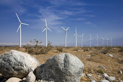 Wind Turbines generate electricity at Iberdrola Renewables' Dry Lake Wind Power Project in Arizona. Iberdrola has received approvals for a similar project planned for McCain Valley, north of Boulevard.