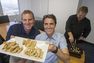From left, Beyond Meat's Ethan Brown and Brent Taylor with 'chicken-free strips.'