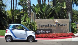 Paradise Point Resort & Spa is making sustainability a driving force in its operation. Car2go gives the resort's guests a green way to get around.