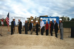 The Balfour Beatty Construction team and representatives from the Solana Ranch Elementary School break ground for the new facility that is expected to be ready for students in the fall of 2014.