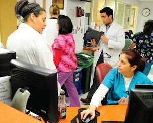 Upbeat: The cardiovascular unit at Northridge Hospital buzzes with activity.