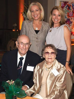 Daniel and Violet McKinney, seated, received the Kaye Woltman Legacy Award. San Diego Hospice President and CEO Kathleen Pacurar, standing left, and San Diego Hospice Chief Development Officer Traci Bruckner also attended the event.
