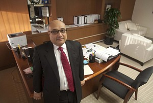 Noor Menai, Chinatrust CEO, at the bank's headquarters in Torrance; the bank is moving to downtown L.A.