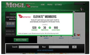 Locally based MOGL recently became the dining-rewards provider in the loyalty points program of airline Virgin America Inc.