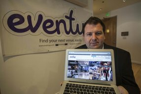Tony Adam, Eventup co-founder, at the venue listing business's headquarters in Santa Monica.