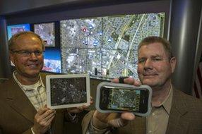 From left, Raytheon's Gregory Mikkelsen and Daniel De Sollar in Downey.