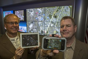 From left, Raytheon's Gregory Mikkelsen and Daniel De Sollar in Downey.
