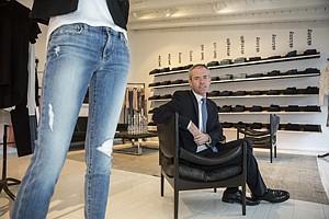 Marc Crossman, Joe's Jeans chief executive, at the premium denim maker's L.A. shop on Melrose Place.