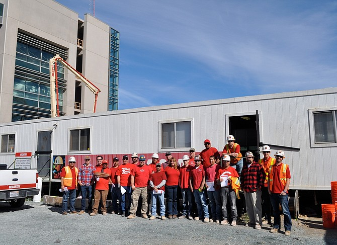 Construction workers at the new $110 million San Diego Mesa College Math and Science Building wore red on Feb. 1 to raise awareness of heart disease.