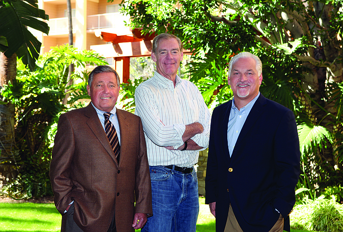 Hotelier Jack Giacomini, left, is partnering with former San Diego City Manager Jack McGrory and real estate executive Casey Brown to restore La Casa del Zorro. They say the secluded resort would make a great corporate retreat destination.
