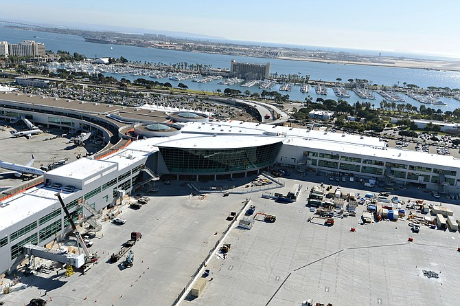 The $1 billion Green Build at San Diego International Airport, set for completion in August, includes a two-level roadway separating arriving and departing passengers at Terminal 2.