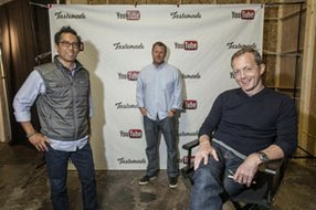 From left, Joe Peretz, Larry Fitzgibbon and Steve Kydd at studio of Santa Monica's Tastemade, which drew a seven-figure deal in the first quarter.