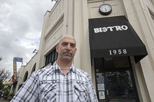 Coffee Table Bistro owner Brett Schoenhals at his Eagle Rock eatery, which received a letter warning him of Proposition 65 fines.