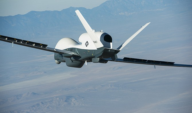 Northrop Grumman's Triton unmanned aircraft completed its first flight recently. The high-altitude aircraft can stay aloft for more than 24 hours.