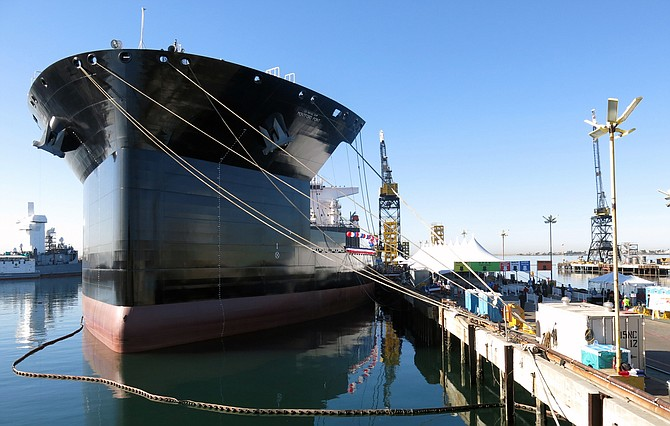 General Dynamics Nassco delivered the USNS Montford Point to the U.S. Navy. The 785-foot long auxiliary ship will serve as a floating base for amphibious operations and operate as a transfer point between large ships and small landing craft.