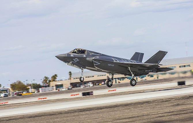 An F-35B takes off from Marine Corps Air Station Yuma. Lockheed Martin reports that the outlook is now better and it is on track to deliver at least 36 aircraft this year.