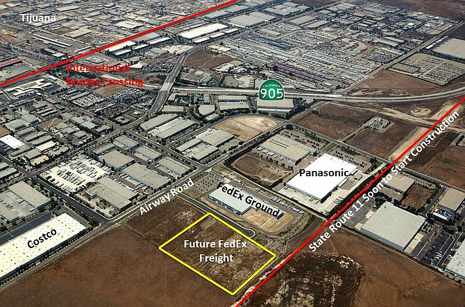 An Otay Mesa property, recently bought Coronado-based developer Kiernan Cos., is the site of a proposed FedEx Freight facility approved last year by county planners.