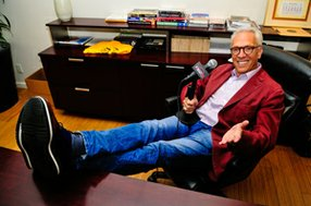 Norm Pattiz, Courtside Entertainment Group chief executive, at the podcast company's Beverly Hills office.