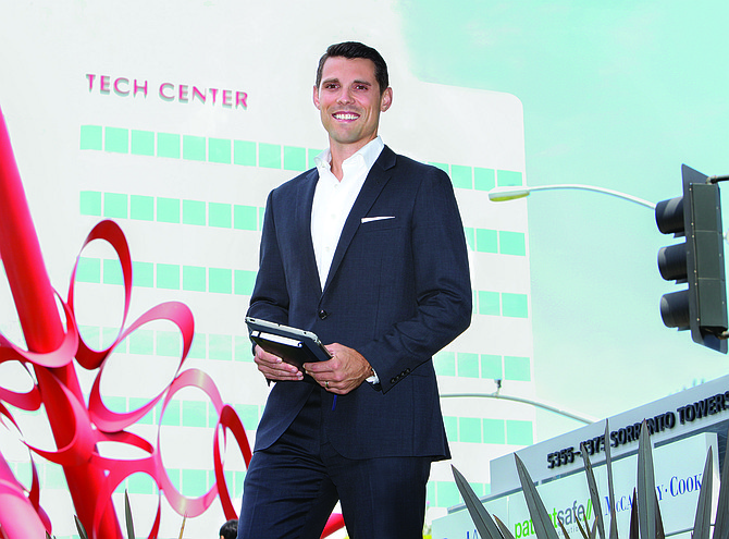 Tim Olson, a vice president in Jones Lang LaSalle's San Diego office who deals with technology clients, stands outside the San Diego Tech Center in Sorrento Valley, one of the hot areas for tech sector office space.