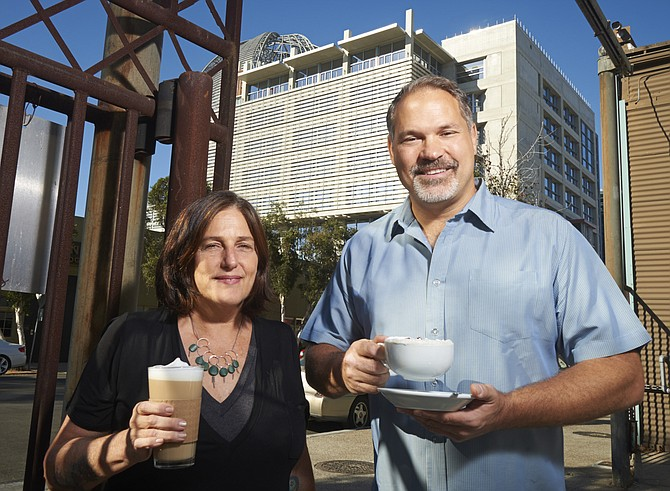 Deborah Helm and Tom Fitzpatrick of The Mission restaurant in East Village are among those in that neighborhood who are optimistic that the new San Diego Central Library, also pictured below, will be a catalyst for business and positive growth.