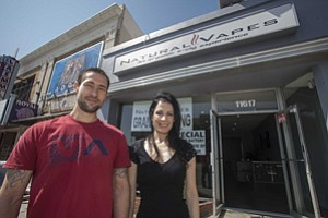 Chris Strawn and Elaine Ruggieri at Natural Vapes in West Los Angeles.
