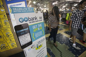 Ad for Green Dot's app Go Bank at UCLA bookstore.
