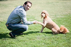 DogVacay's Aaron Hirschhorn with potential customer.