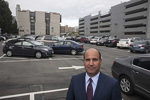 Aecom CEO Mike Burke at location of future downtown L.A. project.