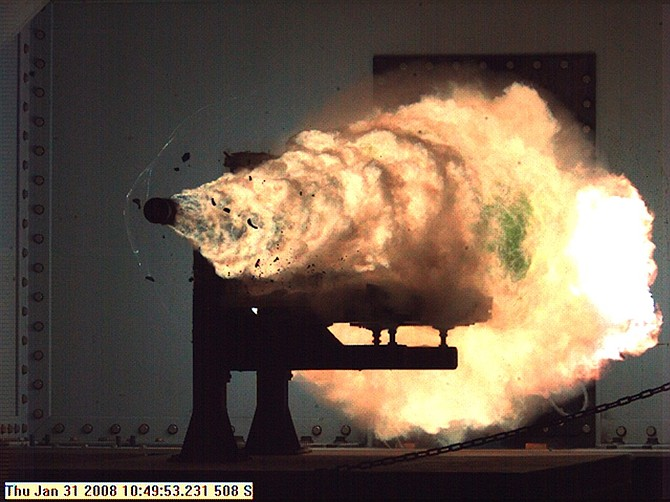Railguns like this one by General Atomics can fire projectiles at several times the speed of sound.