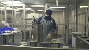 Worker at Prolacta Bioscience's facility in Monrovia.