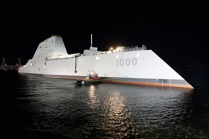 Rumors abound that the U.S. Navy's futuristic USS Zumwalt may be stationed at Naval Base San Diego.