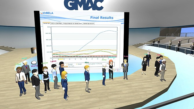Business students from around the world were represented by their avatars to learn the final results of the University of California, San Diego's Rady School of Management's recent business competition.