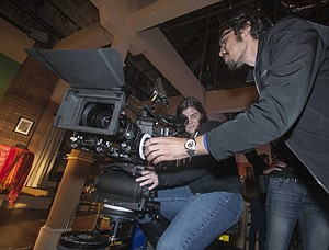 University students check out ultrahigh-def 4K format camera at Sony Pictures Television in Culver City.